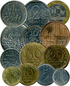 Монеты Франции в период с 1960 по 2001 год